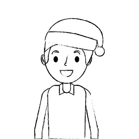 cartoon smiling man young with christmas hat vector illustration sketch