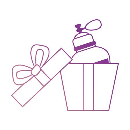 Giftbox with women perfume bottle icon vector illustration design