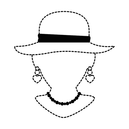 Mannequin with elegant female hat and necklace vector illustration Banco de Imagens - 91236002