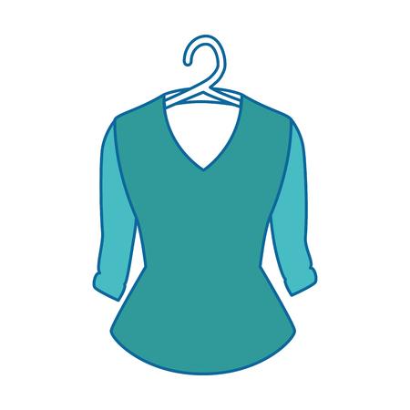 Elegant blouse for women in hanger vector illustration design