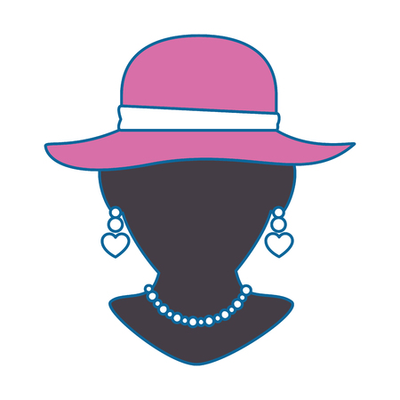 Mannequin with elegant pink hat and necklace vector illustration Çizim