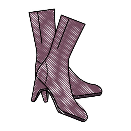 elegant heeled boots icon vector illustration design Illustration