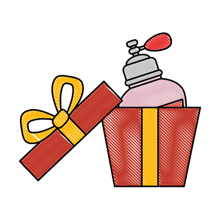 Gift box with women perfume bottle icon vector illustration design Illustration