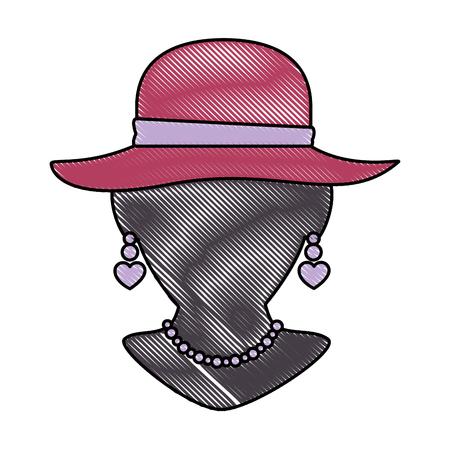 エレガントな女性の帽子とネックレスベクトルイラストを持つマネキン  イラスト・ベクター素材