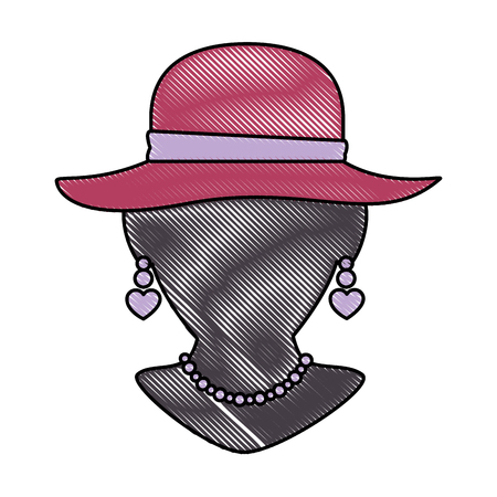 mannequin with elegant female hat and necklace vector illustration Çizim