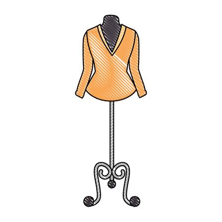 Elegant blouse for women in manikin vector illustration design