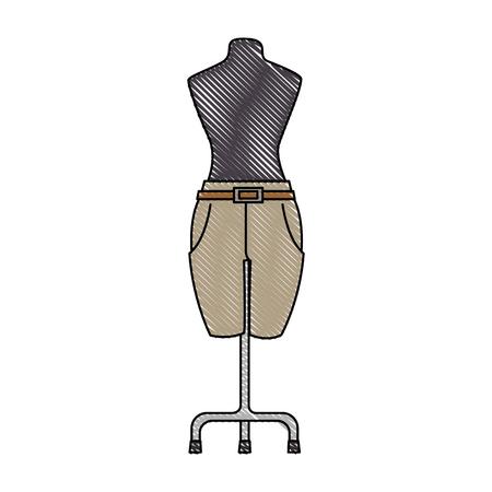Elegant pants for women in manikin vector illustration design
