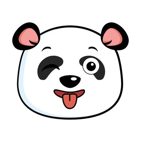 Cute crazy winking panda  illustration design