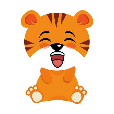 Leuk de illustratieontwerp van het tijgerkarakter Stock Illustratie