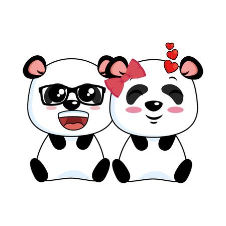 Cute lovely pandas lovely  illustration design
