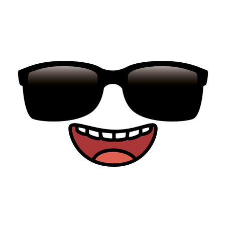 Happy emoji face with sunglasses vector illustration design
