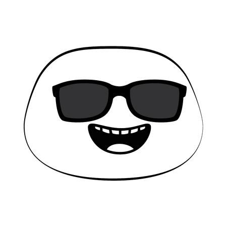 선글라스 벡터 일러스트 디자인으로 해피 이모셜 얼굴
