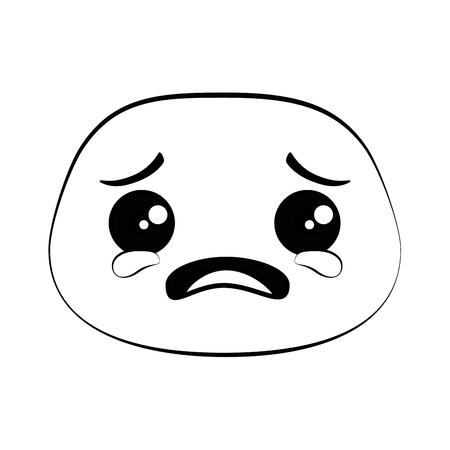 Crying emoji face icon vector illustration design
