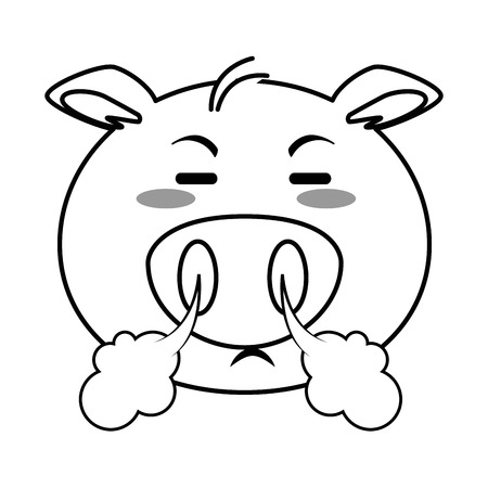 Angry pig emoji vector illustration design Иллюстрация