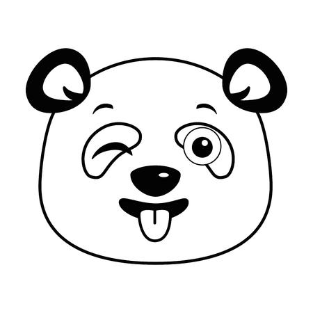 cute panda happy emoji kawaii vector illustration design