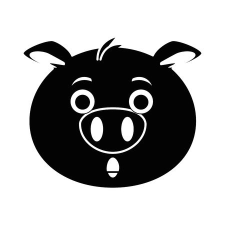 terrified pig emoji kawaii vector illustration design