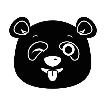 Panda bonito louco emoji kawaii vector illustration design Foto de archivo - 91511355