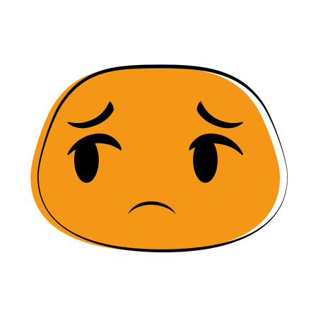 Sad orange emoticon face icon  illustration design Illustration