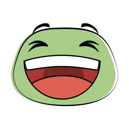 Cartoon sketch of laugh emoji face icon vector illustration design