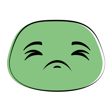 Sad green emoticon face icon  illustration design