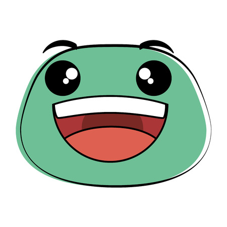 Laughing emoji face icon vector illustration design