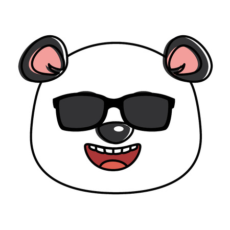 cute panda with sunglasses emoji kawaii vector illustration design