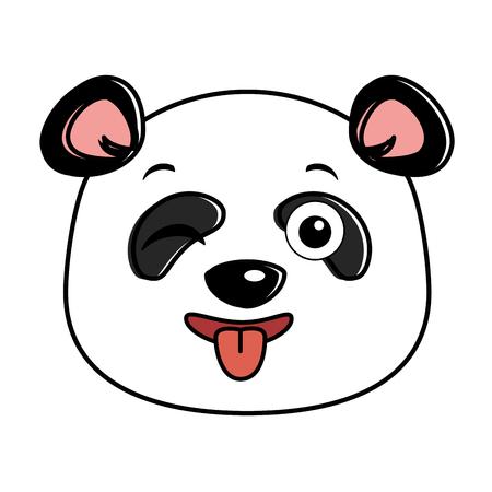 cute panda crazy emoji kawaii vector illustration design