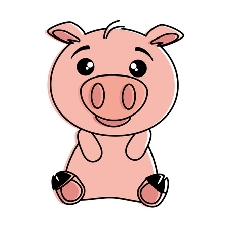 cute pig emoji kawaii vector illustration design