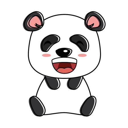 cute panda emoji kawaii vector illustration design
