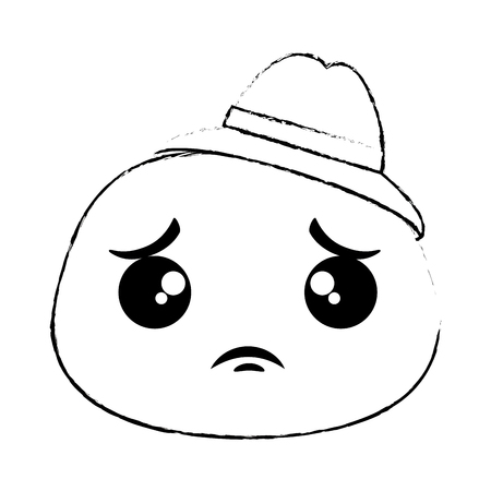 Sad emoji face with hat vector illustration design