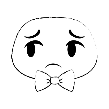 With bow tie emoji face icon vector illustration design