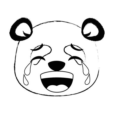 Panda bonito chorando emoji kawaii vector illustration design Foto de archivo - 91511559