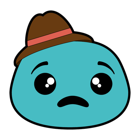 sad emoji face with hat vector illustration design Illustration