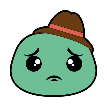 sad emoji face with hat vector illustration design Иллюстрация