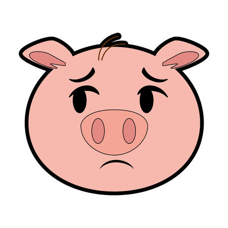 terrified pig emoji  vector illustration design Ilustração