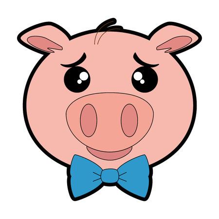 A cute pig emoji  vector illustration design