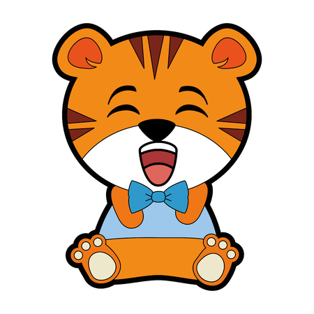 A cute tiger character vector illustration design