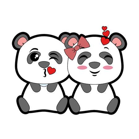 Un diseño lindo del ejemplo del vector de los emojis de los pandas lindos Foto de archivo - 91241070