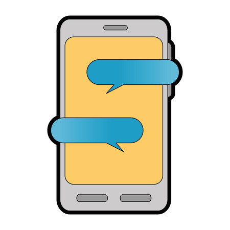 A smartphone device with speech bubbles vector illustration design