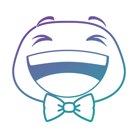 laugh emoji face with bowntie vector illustration design