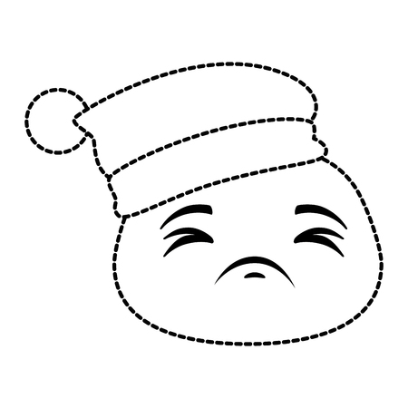 sad emoji face with sleeping hat vector illustration design
