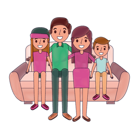 Happy  family sitting together in the sofa