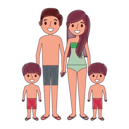 Family wearing swimsuits in the vacations Illustration