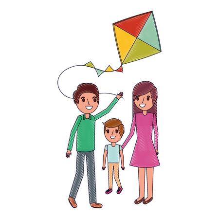 Illustration of family playing kite.