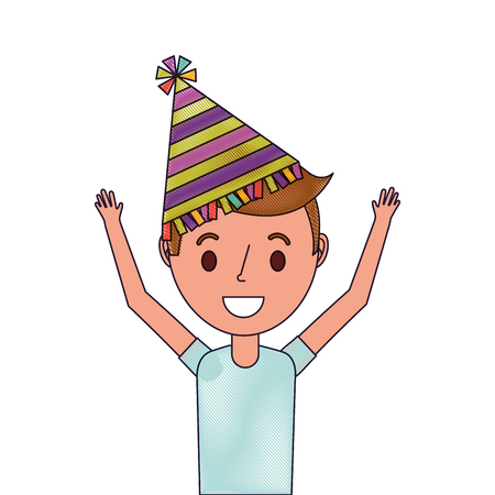 Portrait happy young boy with party hat arms up vector illustration Çizim