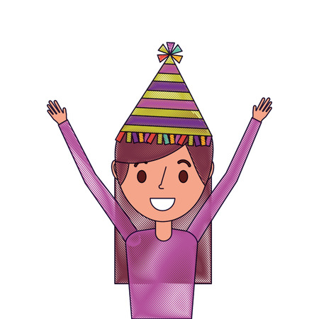 Portrait woman happy with party hat and arms up, vector illustration. Illustration