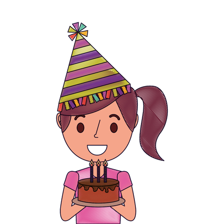 Portrait happy woman holding birthday cake wearing party hat. Illustration