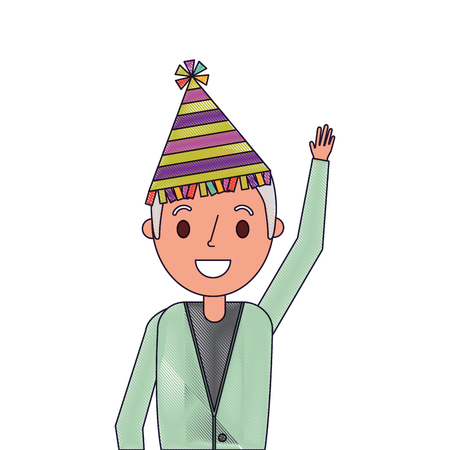 Portrait older man with party hat waving hand, vector illustration. Ilustração