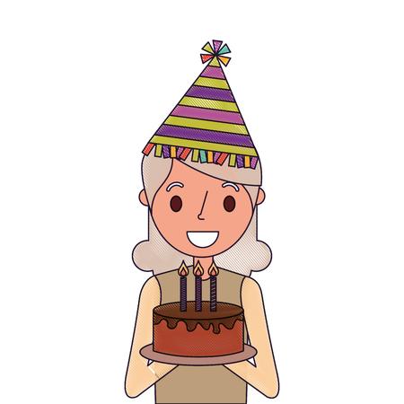 Portrait elderly woman grandmother holding birthday cake, vector illustration.