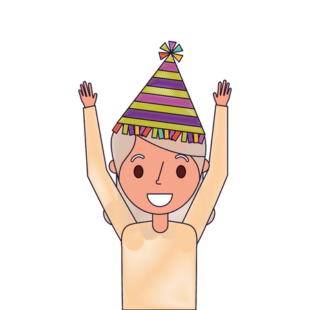 Portrait elderly woman grandma with party hat and arms up.